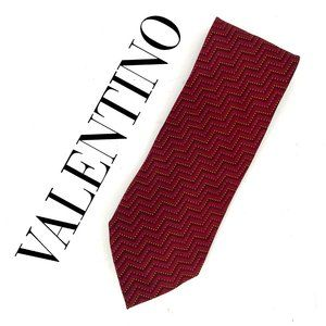 Valentino Red/Yellow Chevron Silk Neck Tie Italy